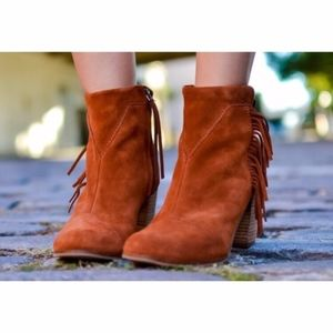 NWOTom's Suede Booties with Fringe- Cinnamon Color